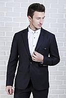 Пиджак мужской чёрный с клапаном на груди, фото 1