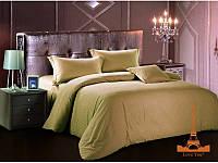 Комплект постельного белья страйп сатин Love you Евро, цвет темно-бежевый, полоса 1 см, подарочная упаковка