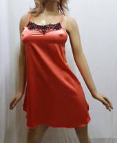 Ночная рубашка атлас со стрейчем, украшенная французским чёрным кружевом, от 42 до 52 размера, Харьков, фото 3