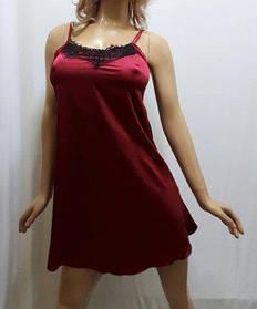 Ночная рубашка атлас со стрейчем, украшенная французским чёрным кружевом, от 42 до 52 размера, Харьков