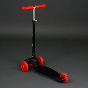 Трехколесный самокат Best Scooter Mini 466-112 Черный. Колеса светятся. Нагрузка до 50 кг, фото 2