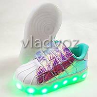Детские светящиеся кроссовки с led подсветкой USB для девочки белые 25р.