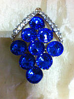 Брошь с синими камнями  высота 5 см, фото 1