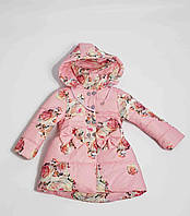 Куртка демисезонная детская для девочки с розами 1-4 года,розовая