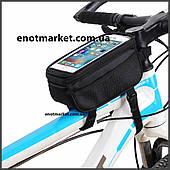 """Велосумка """"B-SOUL"""" прямоугольная нарамная с карманом для телефона 4,7 дюймов черного цвета"""