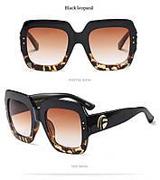 Очки солнцезащитные бренд 2018 Италия. Черный леопард., фото 1