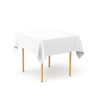 Скатертина 130х130см Біла з тканини Р-195 на стіл 80x80 см Квадратна