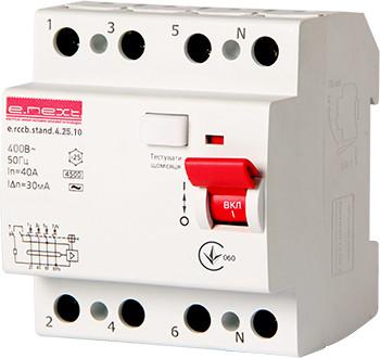Выключатель дифференциального тока e.rccb.stand.4.25.10 4р, 25А, 10mA