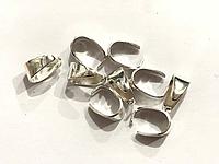 Зажим для подвески, Держатель для кулона, Цвет: Серебро, 8 мм x 7 мм