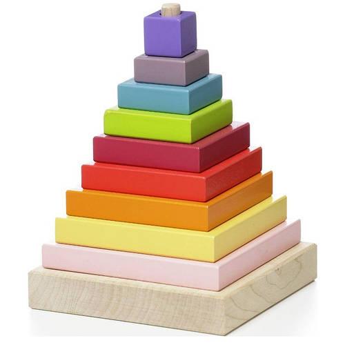 """Дерев'яний конструктор """"Піраміда"""", 10 деталей CUBIKA Левеня"""