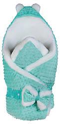 Конверт-одеяло Babyroom 621602, плюш-мутон, бирюзово - белый