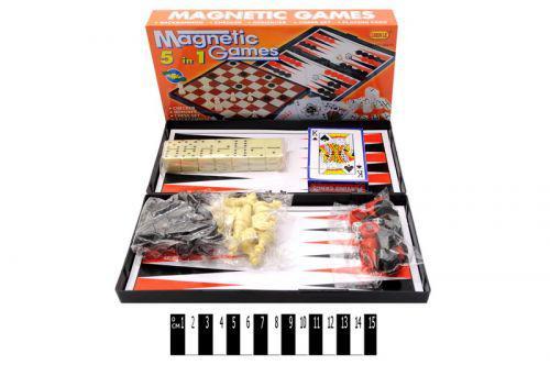Магнитная игра 5 в 1 (шахматы, шашки, нарды, карты, домино)