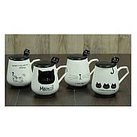 """Чашка с крышкой и ложкой """"Черная Кошка""""  420 мл.,4 дизайна"""