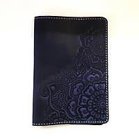 Синяя обложка для паспорта цветочный сад