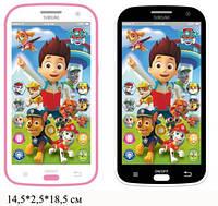 Детский развивающий телефон Щенячий патруль музыка, сказки, повторюшка, свет, JD-0883F2