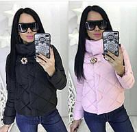короткая стеганная женская куртка цветная съемная брошь с высоким воротом черный пудра 42 44 46