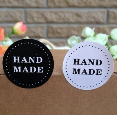 """Наклейка """"Hand made"""",  3,7 см, 4 шт., цвета черный и белый"""