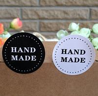 """Наклейка """"Hand made"""",  3,7 см, 4 шт., цвета черный и белый, фото 1"""