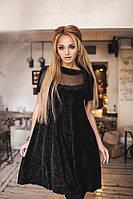 Красивое платье плиссе из бархата. Чёрное, 3 цвета. Р-ры: 42-44 и 44-46.