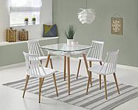 Стол обеденный стеклянный TONIC Halmar белый/бук