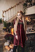 Красивое платье плиссе из бархата. Бордовое, 3 цвета. Р-ры: 42-44 и 44-46.