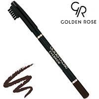 Golden Rose Карандаш для бровей Eyebrow Pencil деревянный № 102 (Тёмно-Коричневый)