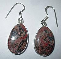 Шикарные серебряные серьги  с  леопардовой яшмой и  от студии LadyStyle.Biz, фото 1