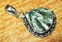 """Изящный серебряный кулон  с натуральным серафинитом """"Дождь"""" ,  от студии LadyStyle.Biz, фото 1"""