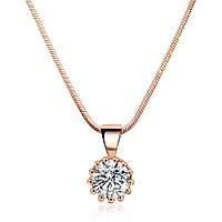 Позолоченный кулон с цепочкой бижутерия с белым кристаллом Сокровище морей Залиссо 656636