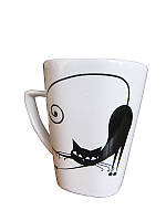 Чашка квадратная Черные коты (Фарфоровая посуда)