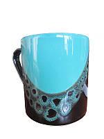 Чашка офисная капля черно-бирюзовая (Фарфоровая посуда)