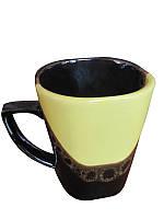 Чашка квадратная капля черно-желтая (Фарфоровая посуда)