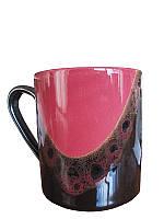 Чашка офисная капля черно-бордовая (Фарфоровая посуда)