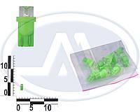 Лампа W3W 12В 3Вт W2,1x9,5d, подсветка панели приборов, бесцокольная большая зеленая LED (Китай). T10 б/ц