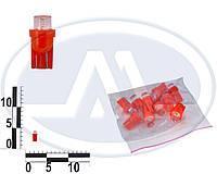 Лампа W3W 12В 3Вт W2,1x9,5d, подсветка панели приборов, бесцокольная большая красная LED (Китай). T10 б/ц