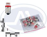 Лампа T4W 12В 0,45Вт BA9s, передних габаритов малая красная LED (Китай). T8,5