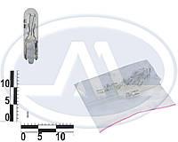 Лампа W1,2W 24В 1,2Вт W2X4,6d, подсветка панели приборов, дополнительного стоп-сигнала, бесцокольная малая (Китай).