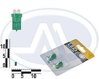 Лампа W3W 12В 3Вт W2,1x9,5d, подсветка панели приборов, бесцокольная большая зеленая LED, комплект (Китай). T10 б/ц   4 LEDS (3мм)