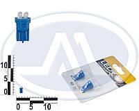Лампа W3W 12В 3Вт W2,1x9,5d, подсветка панели приборов, бесцокольная большая синяя LED, комплект (Китай). T10 б/ц   4 LEDS (3мм)