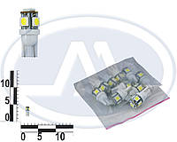 Лампа W5W 24В 3Вт W2,1x9,5d, подсветка панели приборов, бесцокольная большая белая LED (Китай).  5 SMD 5050 24V
