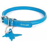 Ошейник круглый, кожаный, для длинношерстных собак Collar Glamour