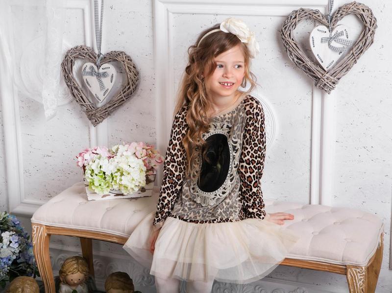 Нарядное леопардовое платье для девочки  ТМ МОНЕ р-ры 122