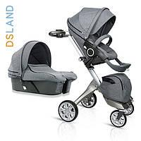"""Детская коляска """"DSLAND Xplory  V6 2в1 """"(светло-серая)"""