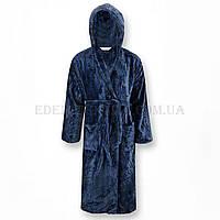 Синий халат мужской с капюшоном S.Soft, Синий