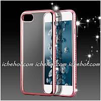 Силиконовый чехол со стразами  для Iphone 7 Plus Розовый