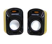 Колонки 2.0 Greentree GT-SP22 Black/Yellow, 2 x 3 Вт, пластиковый корпус, питание от USB, регулировка звука на кабеле
