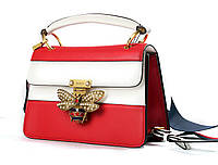 GUCCI Queen Margaret leather top handle bag white_red