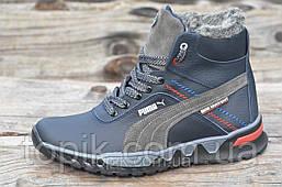 Подростковые зимние спортивные ботинки кроссовки натуральная кожа, мех черные с серым (Код: 947).