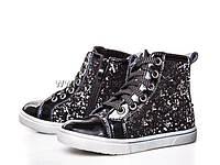 Ботинки детские для девочек весна-осень (27-32) Clibee-H-139-black-silver