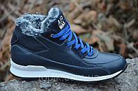 Кроссовки ботинки зимние подростковые кожа Nike Найк темно синие реплика Харьков 2016 (Код: 255а)